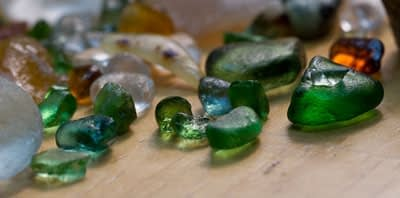 Sea glass rubbed in oil