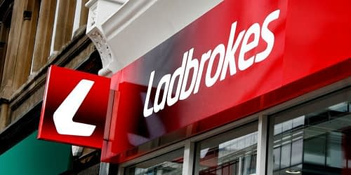The Ladbrokes sign and logo on one of their many high street betting shops.