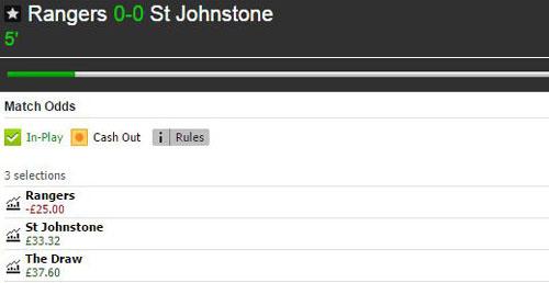 Rangers v St Johnstone Betfair Match Odds market