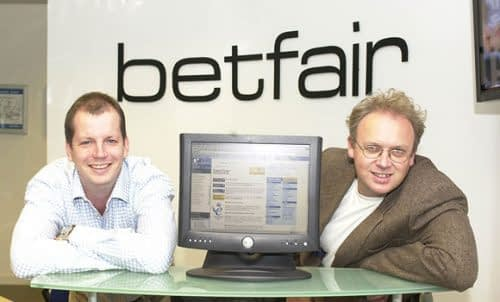 Betfair owners Andre Black and Edward Wray sit in a company office.