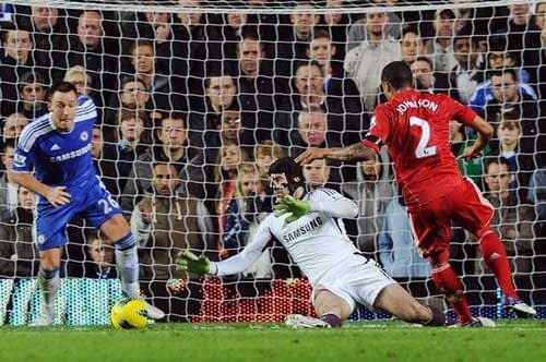 Glen Johnson scores for Liverpool against Chelsea.