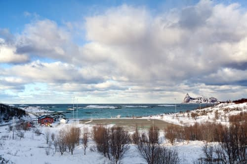Winter landscape of Sommaroy, Tromso, Norway