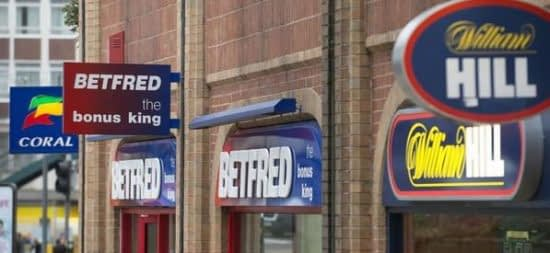 Three different betting shop sit along the same street.