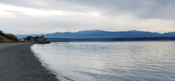Bush Point Beach on Whidbey Island, Washington with snow capped mountains in the distance image.