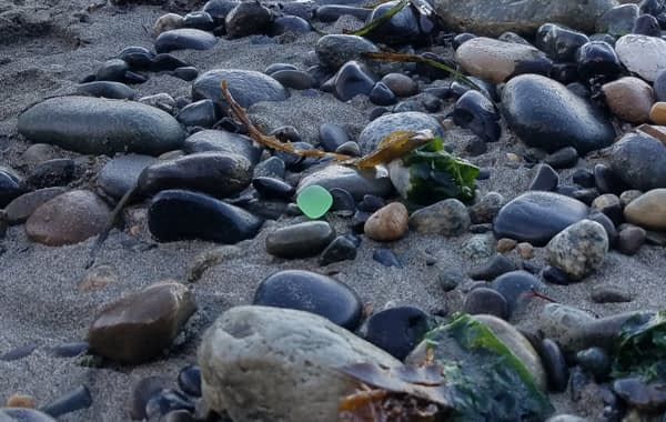 Lime green sea glass found on Glass Beach, Port Townsend, Washington.