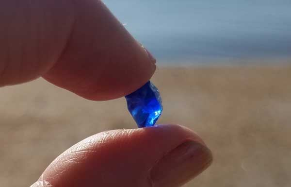 Fingers holding up a piece of cobalt blue sea glass on the beach in New Jersey.