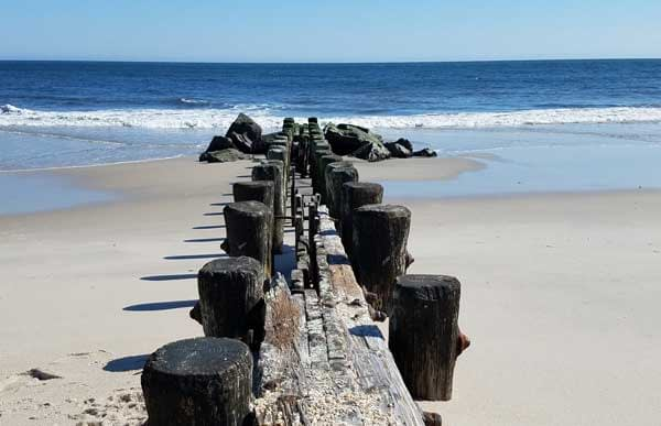 Old wooden pilings on Point Pleasant Beach.