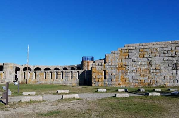 View of Fort Popham and parking area.