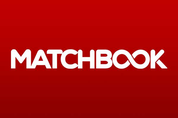 The Matchbook.com betting exchange logo on a plain red background.