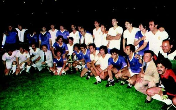 Real Madrid and Real Madrid Castilla pose alongside each other following the 1980 Copa del Rey final.