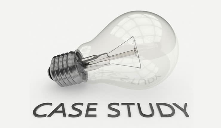 "Lightbulb with ""case study"" text"