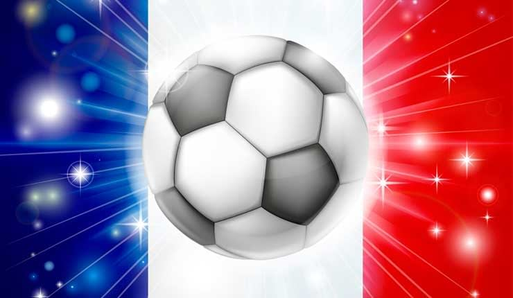 French flag and soccer ball