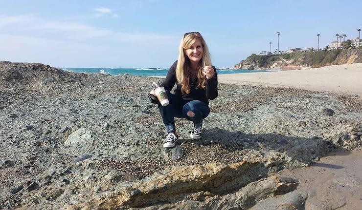 Collecting sea glass at Laguna Beach, California